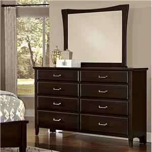 Vaughan Bassett Commentary Triple Dresser & Large Wing Mirror