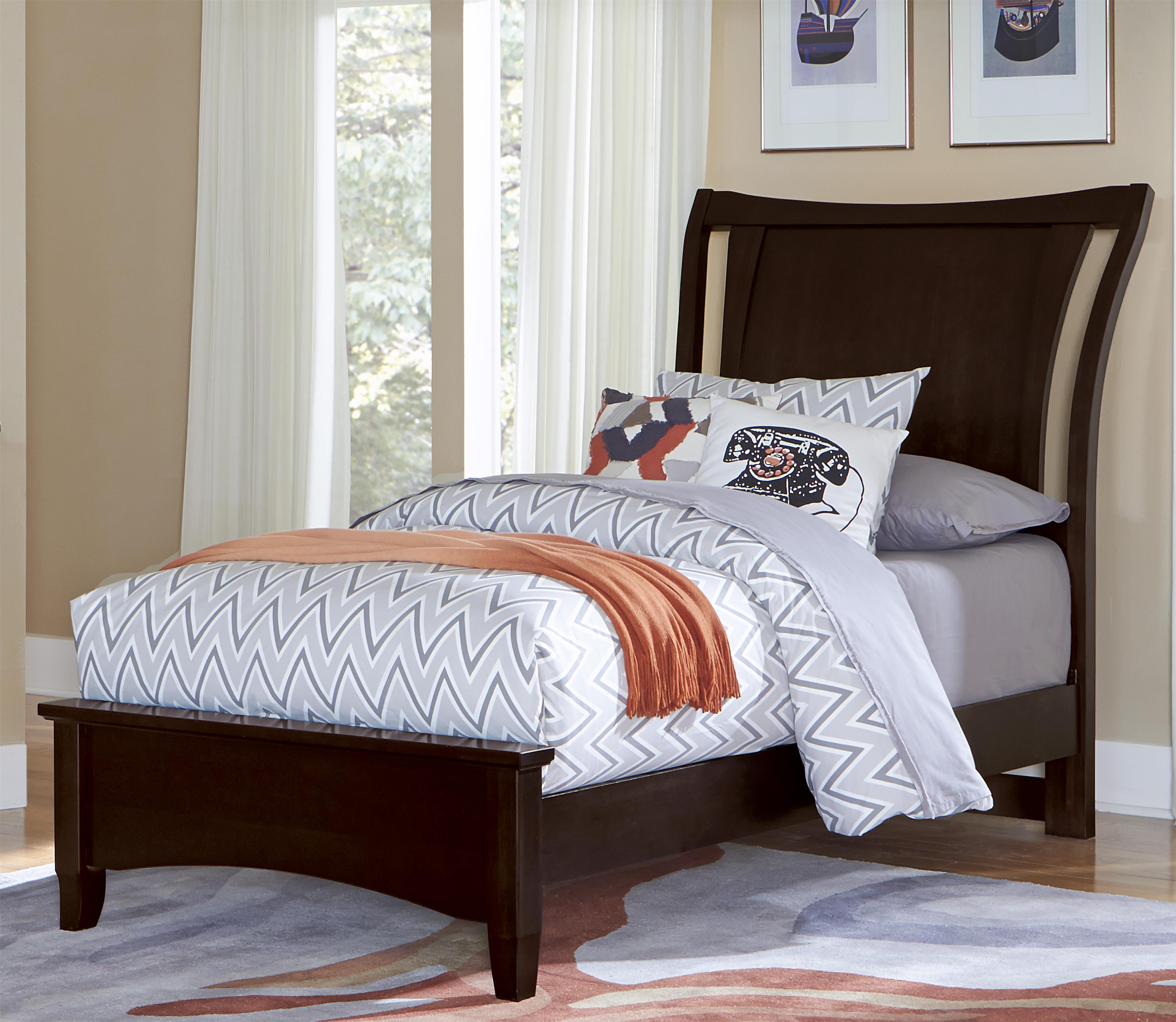 Vaughan Bassett Commentary Twin Wing Bed with Low Profile Footboard - Item Number: 390-331+133+900