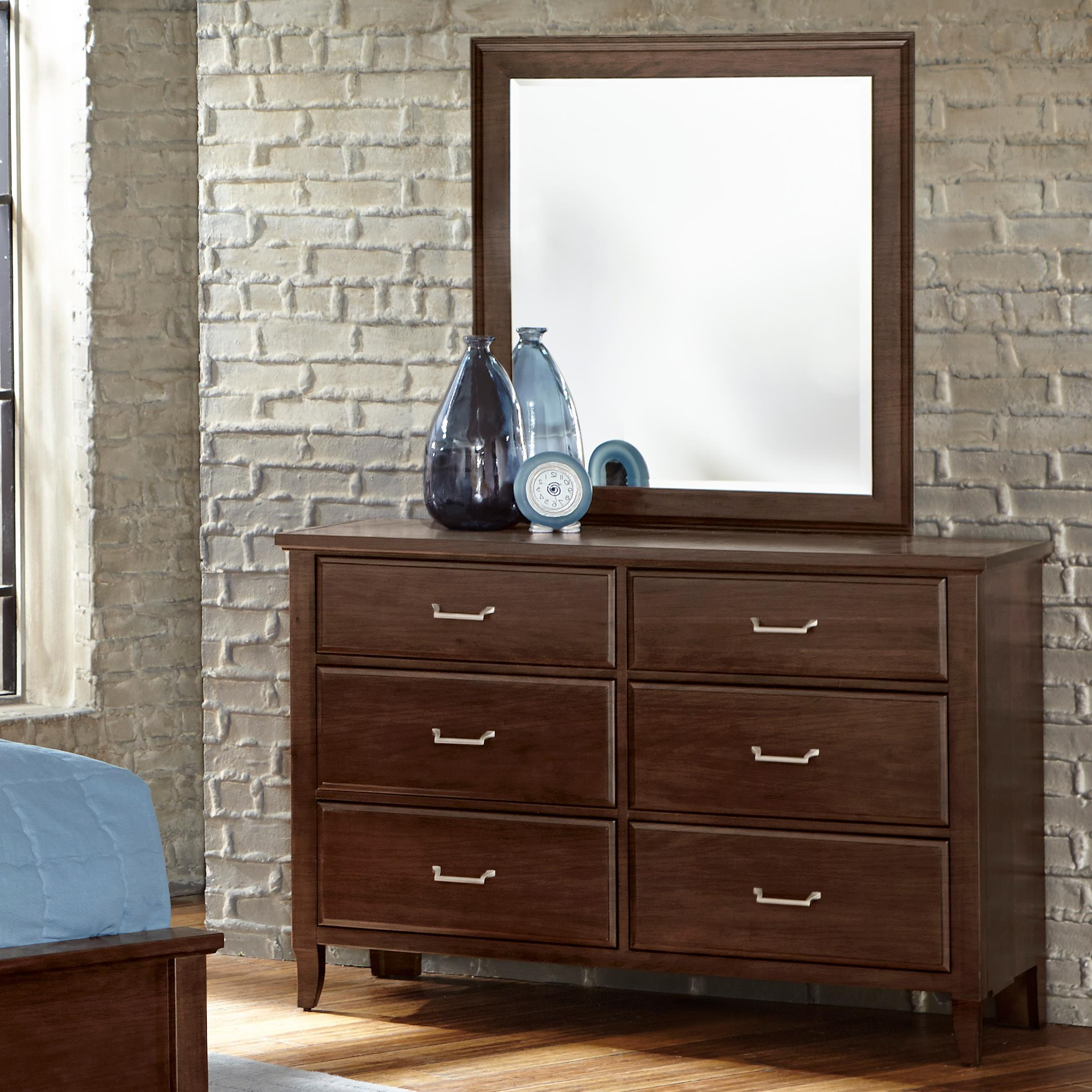 Vaughan Bassett Commentary Dresser - 6 drawers & Youth Landscape Mirror - Item Number: 392-001+442