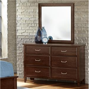 Vaughan Bassett Commentary Dresser - 6 drawers & Youth Landscape Mirror