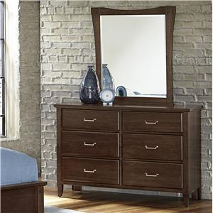 Vaughan Bassett Commentary Dresser - 6 drawers & Youth Wing Mirror