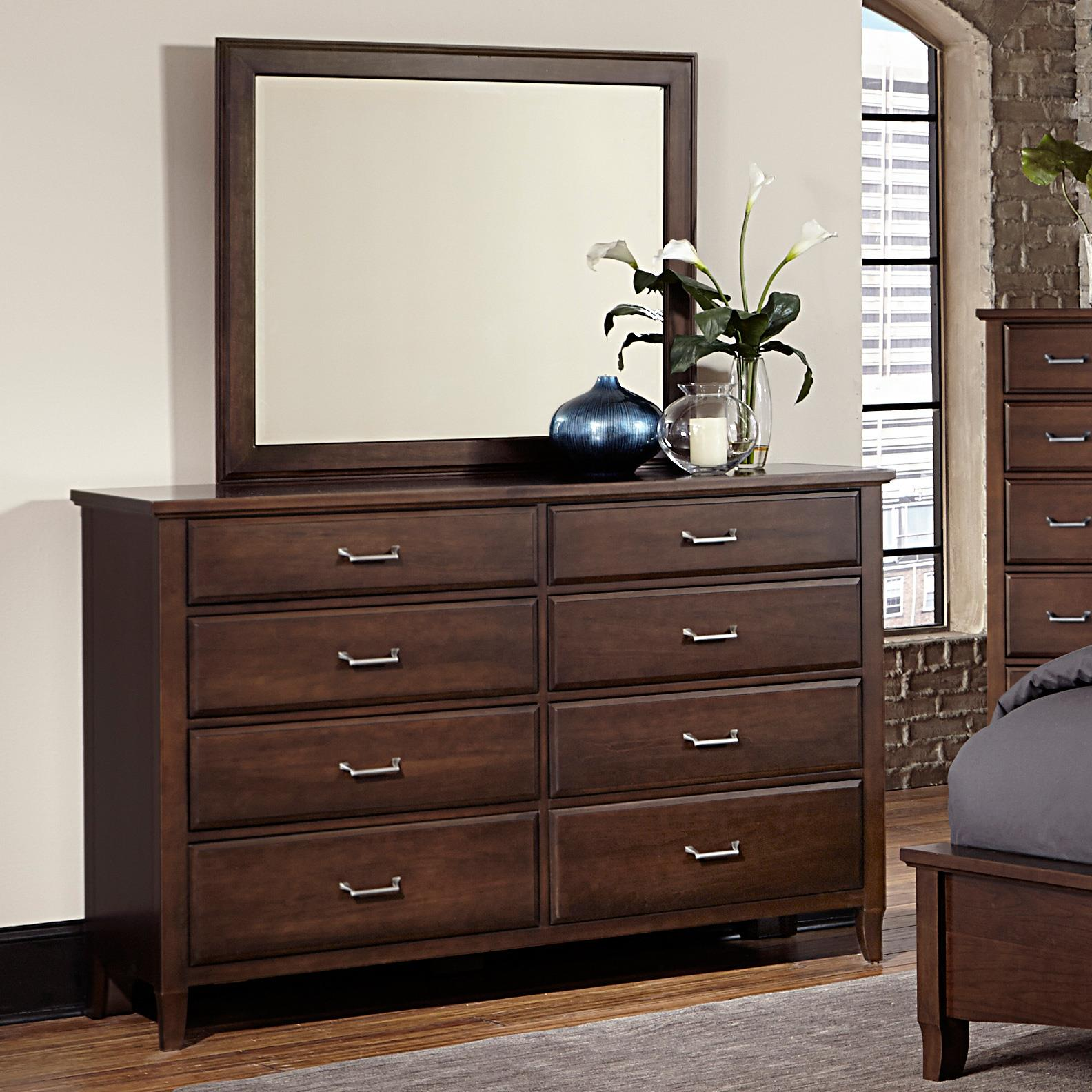 Vaughan Bassett Commentary Triple Dresser & Large Landscape Mirror - Item Number: 392-002+445