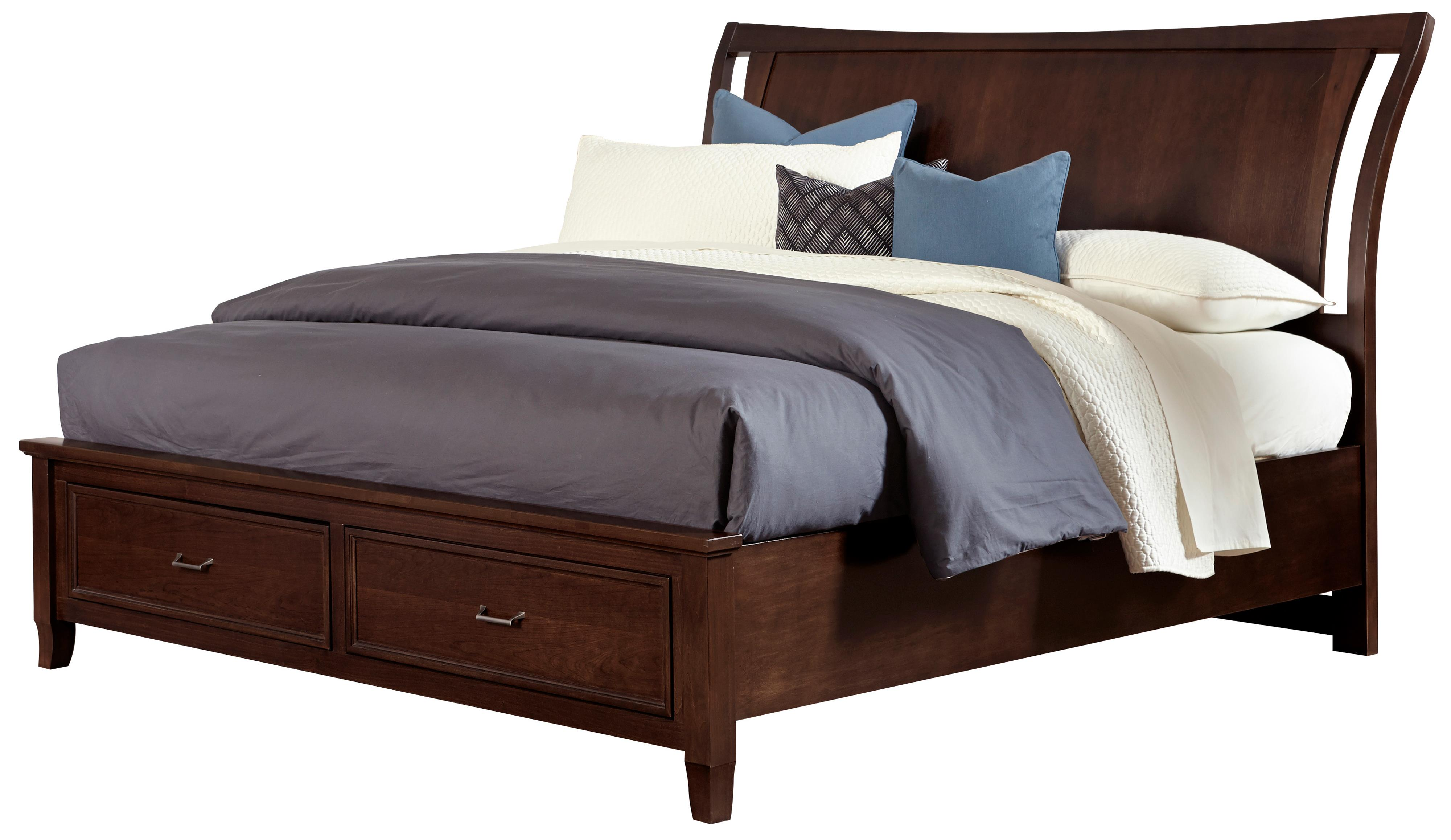 Vaughan Bassett Commentary Queen Wing Bed with Storage Footboard - Item Number: 392-551+050B+502+555T