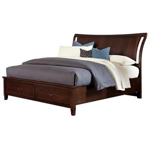 Vaughan Bassett Commentary King Wing Bed with Storage Footboard