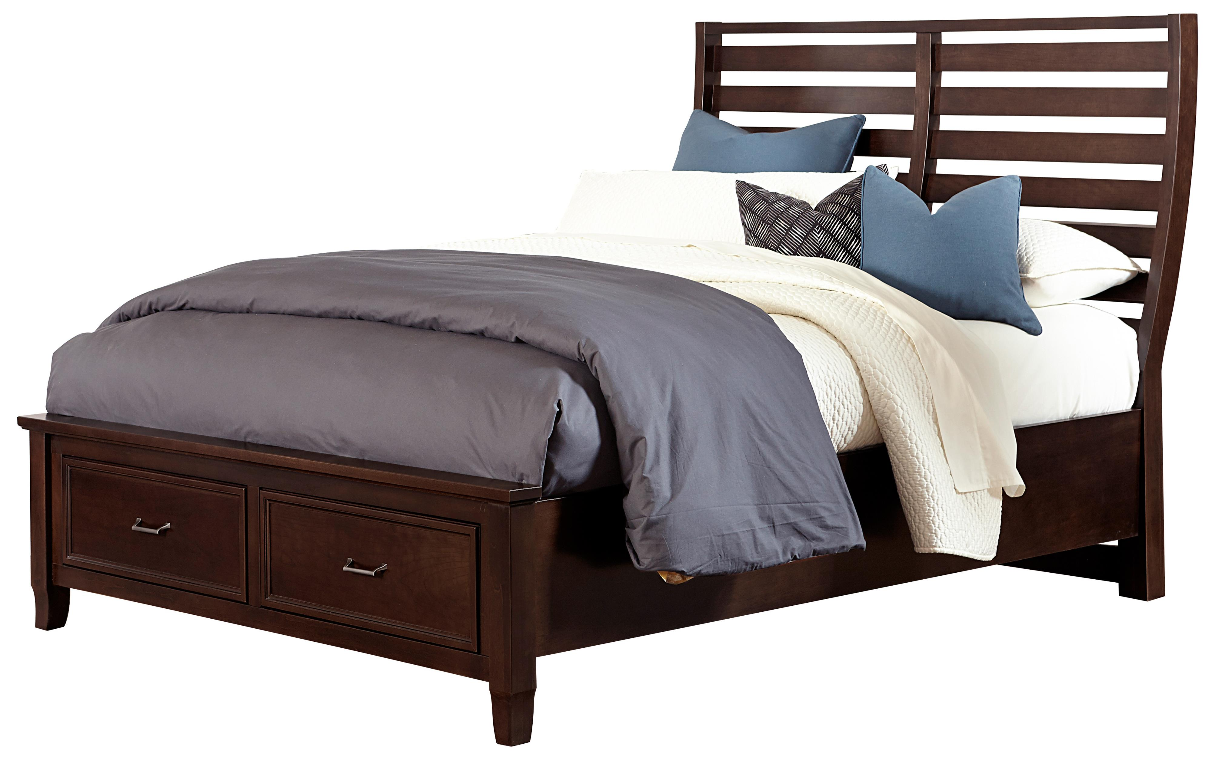 Vaughan Bassett Commentary King Benchback Bed with Storage Footboard - Item Number: 392-668+066B+502+666T