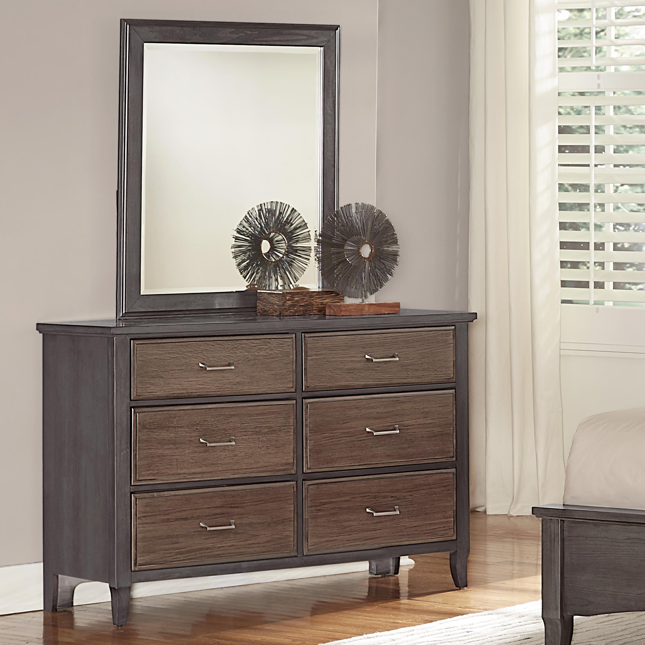 Vaughan Bassett Commentary Dresser - 6 drawers & Youth Landscape Mirror - Item Number: 394-000+442
