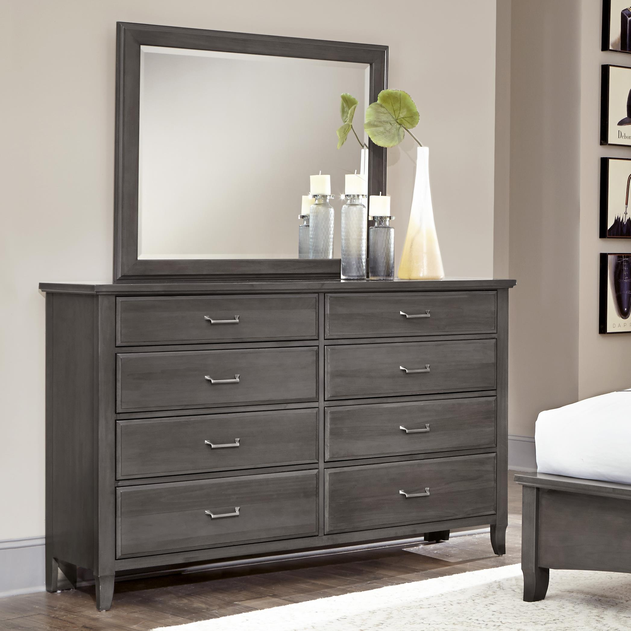 Vaughan Bassett Commentary Triple Dresser & Large Landscape Mirror - Item Number: 394-002+445