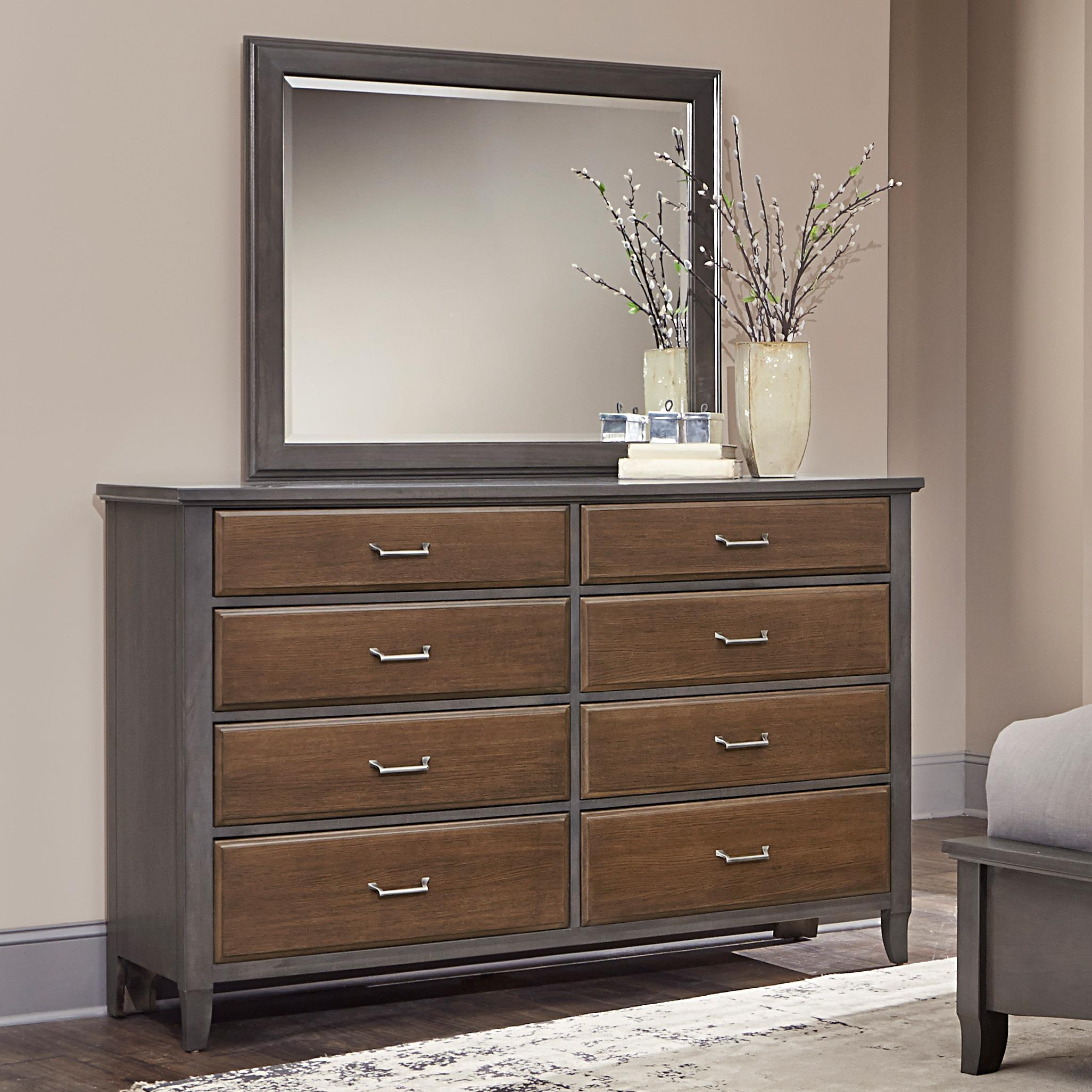 Vaughan Bassett Commentary Two-Tone Dresser & Large Landscape Mirror - Item Number: 394-003+445