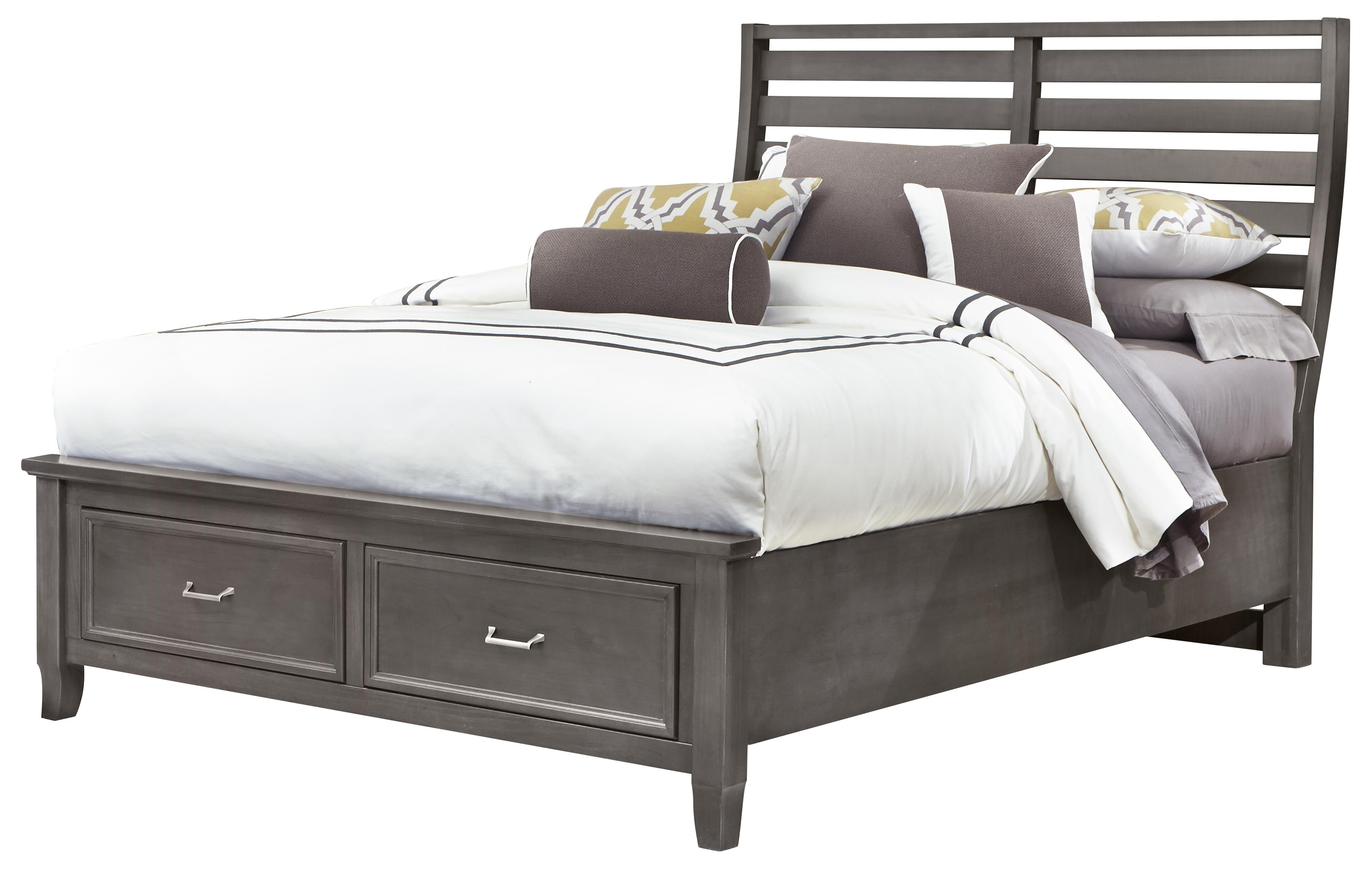 Vaughan Bassett Commentary Queen Benchback Bed with Storage Footboard - Item Number: 394-558+050B+502+555T