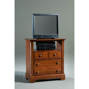 Vaughan Bassett Cottage Media Cabinet - 2 Drawers, Open Shelf