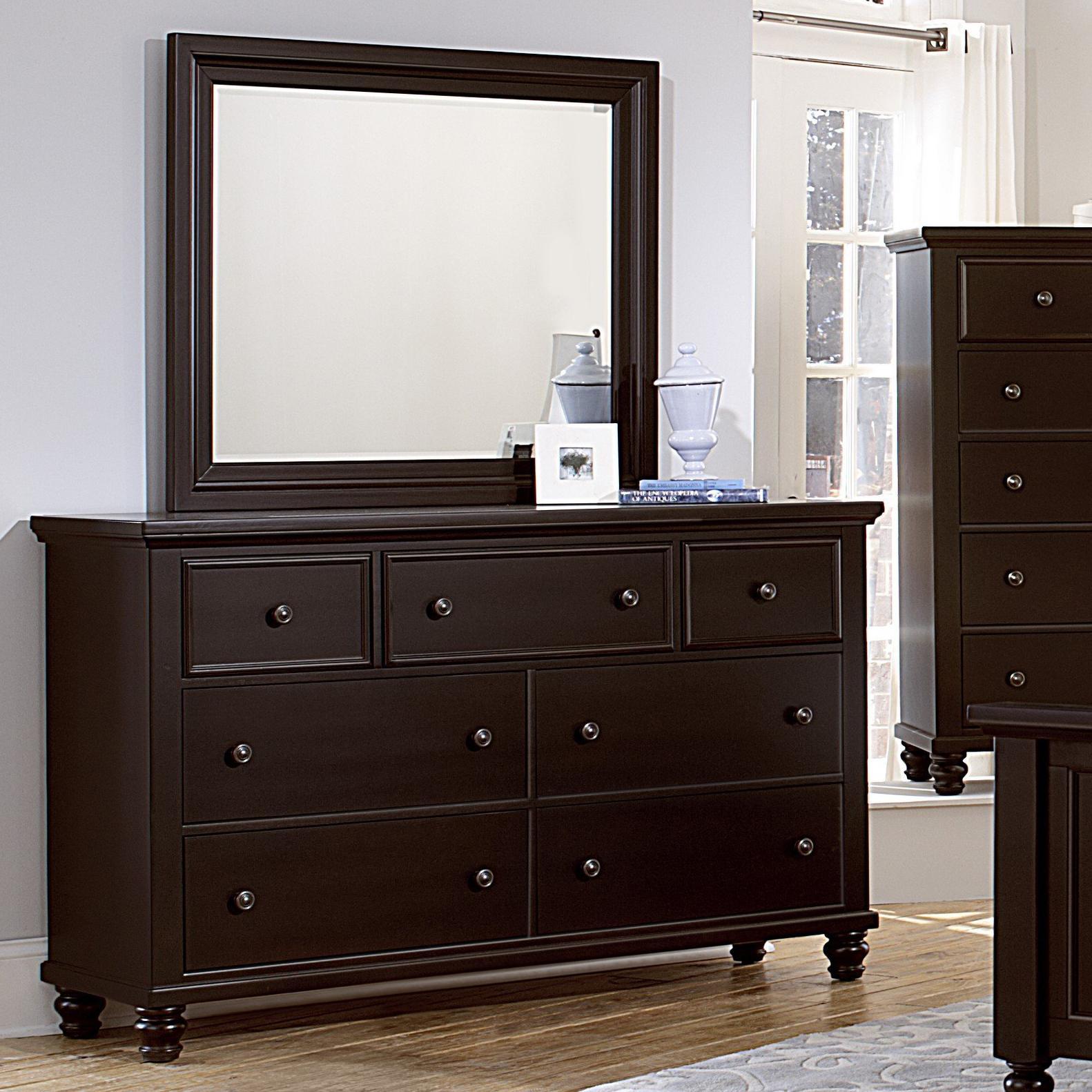 Vaughan Bassett Ellington Triple Dresser & Landscape Mirror - Item Number: 620-002+446