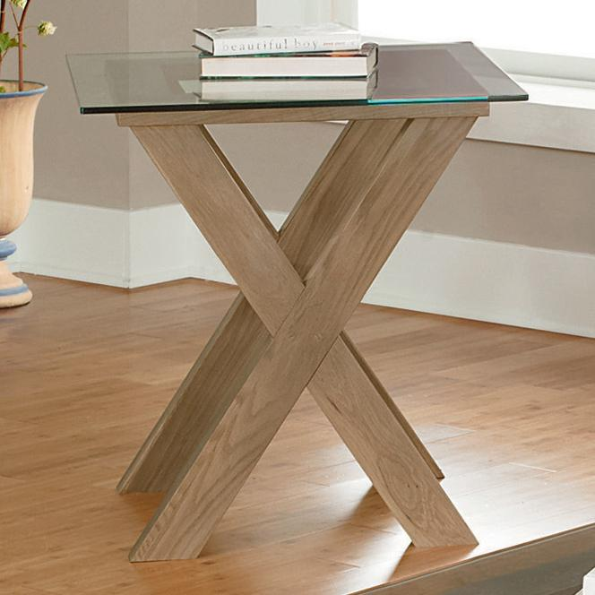 Vaughan Bassett Excalibur End Table With Glass Top   Item Number: 130 058+