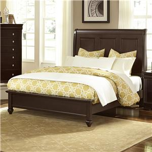 Vaughan Bassett French Market Queen Bed w/ Sleigh Headboard & Low Ftbd