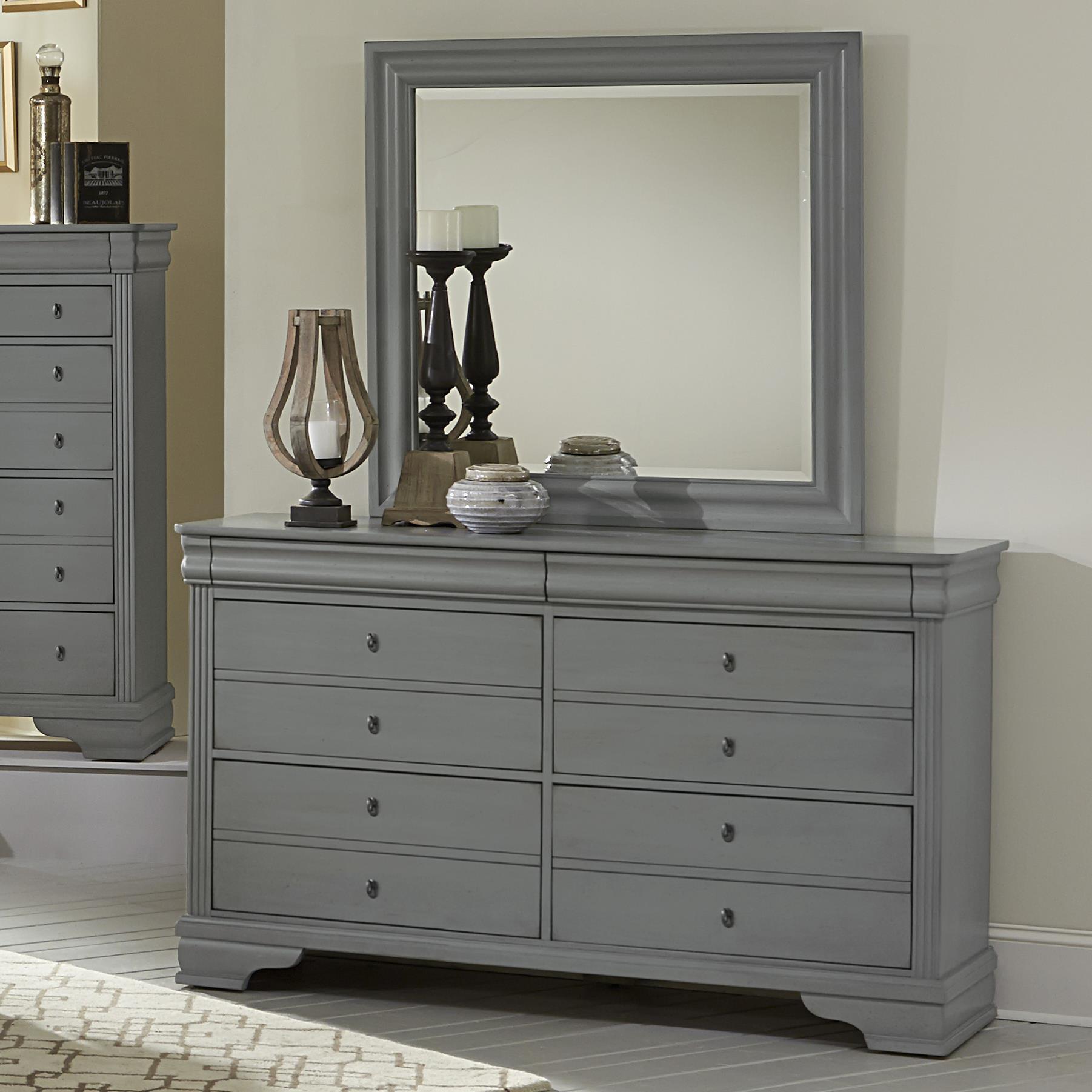 Vaughan Bassett French Market Dresser & Landscape Mirror - Item Number: 381-002+446