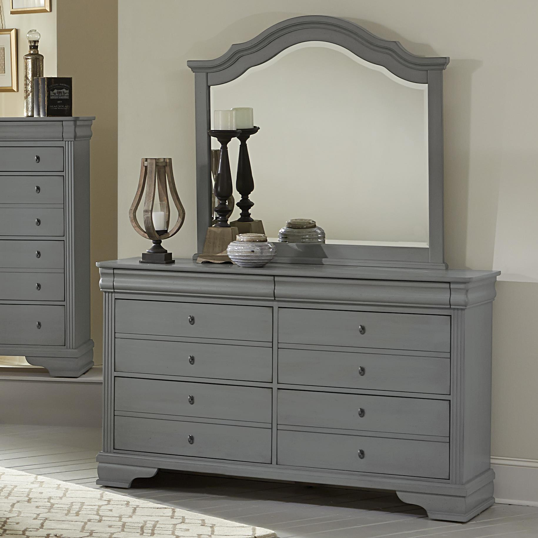 Vaughan Bassett French Market Dresser & Arched Mirror - Item Number: 381-002+447