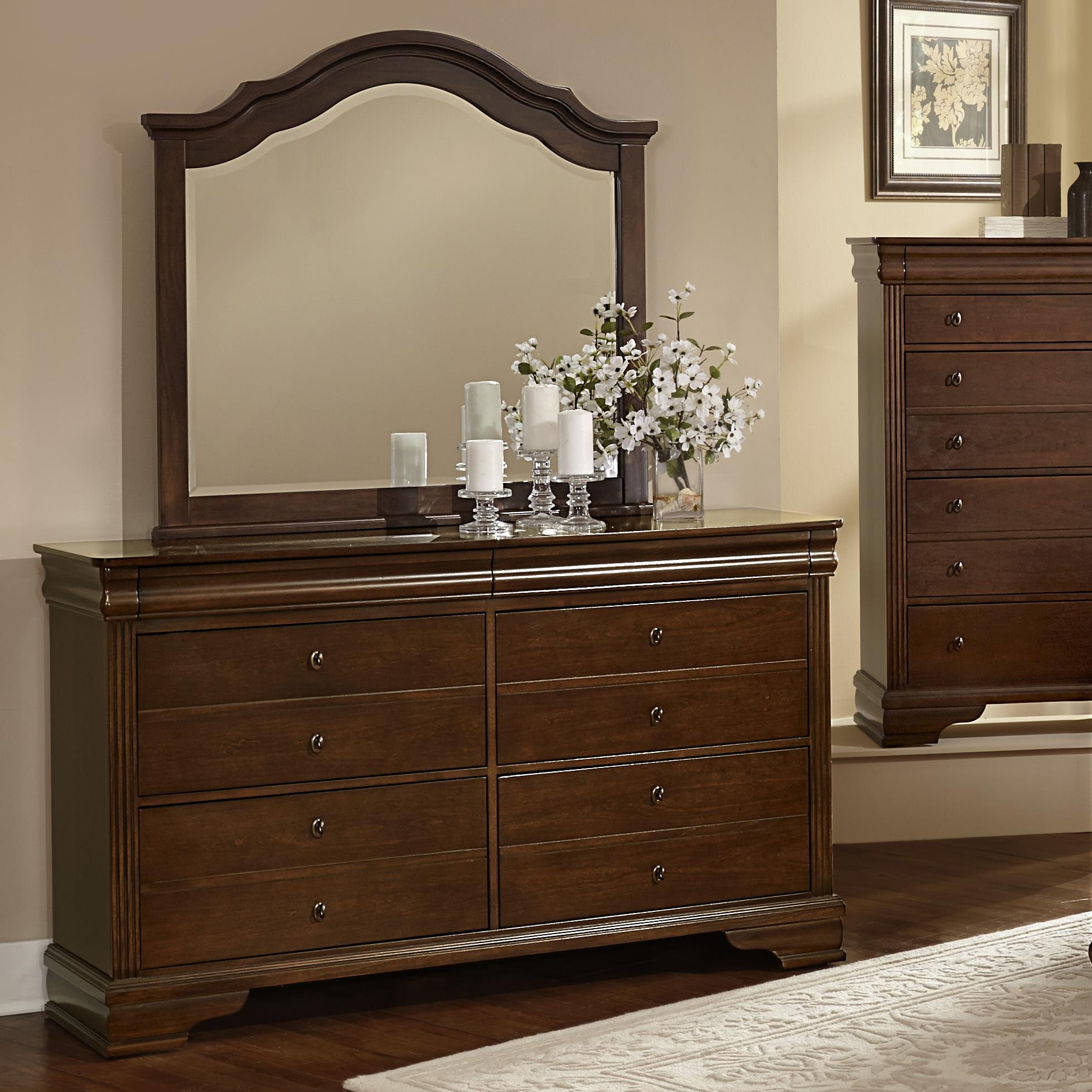 Vaughan Bassett French Market Dresser & Arched Mirror - Item Number: 382-002+447