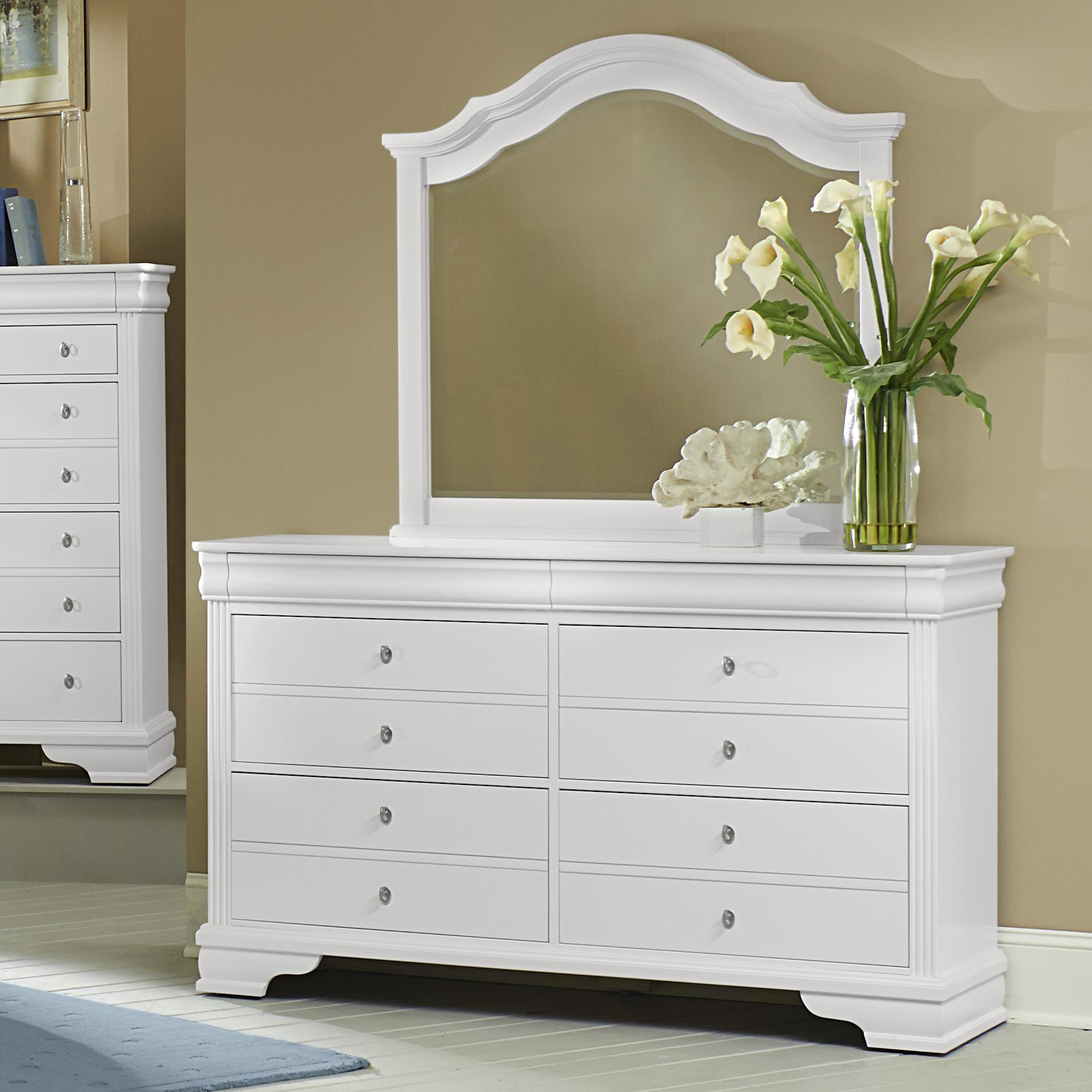 Vaughan Bassett French Market Dresser & Arched Mirror - Item Number: 384-002+447