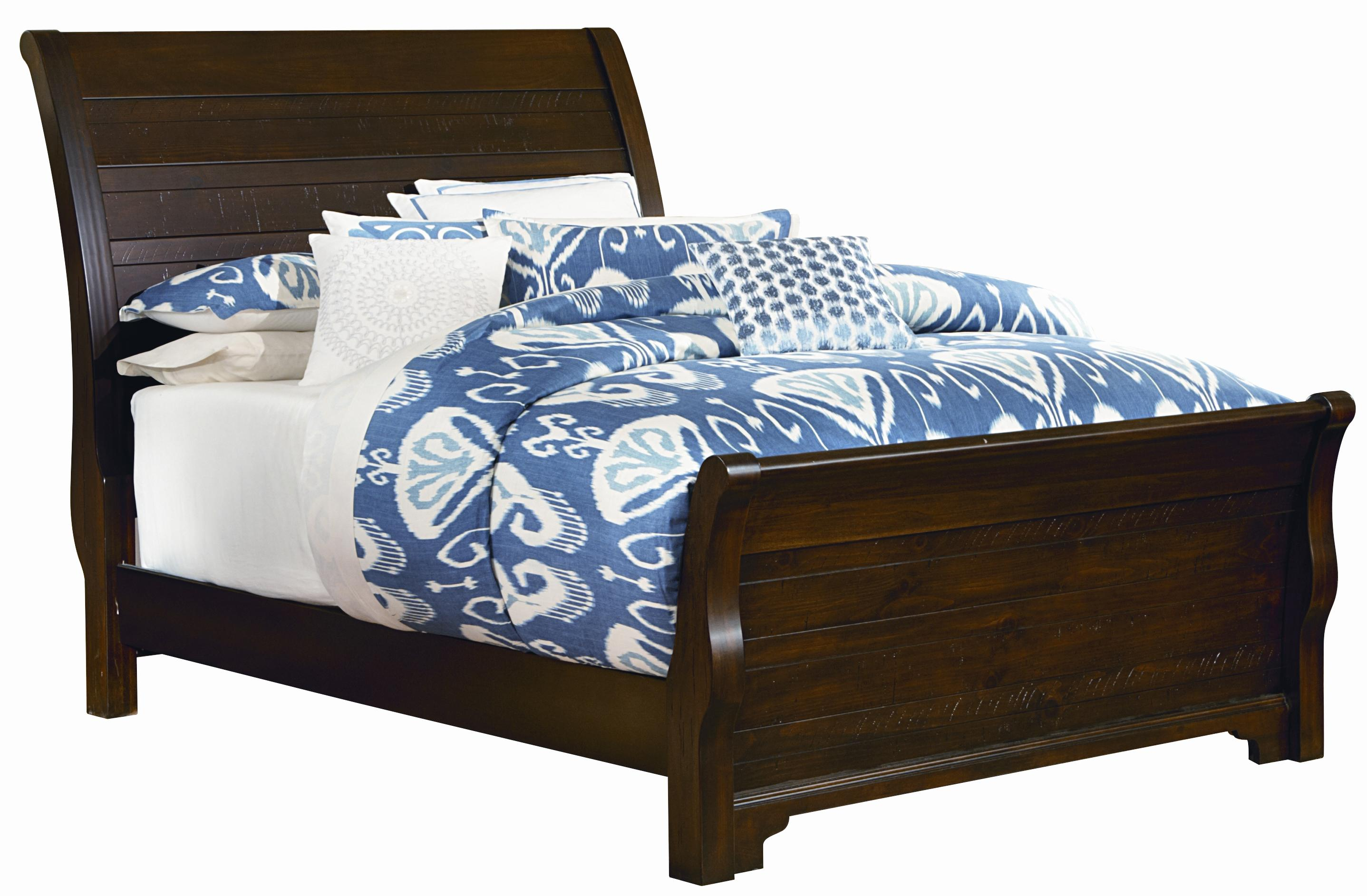 Hanover Distressed Queen Sleigh Bed W Footboard By Vaughan Bassett At Turk Furniture