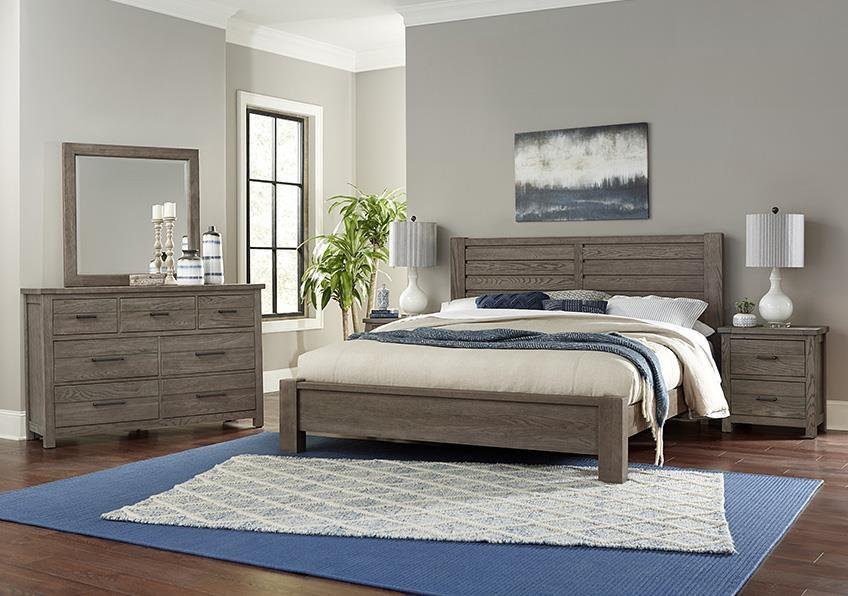 Highland King Plank Bed, Dresser, Mirror, Nightstand by Vaughan Bassett at Johnny Janosik