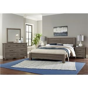 King Plank Bed, Dresser, Mirror, Nightstand