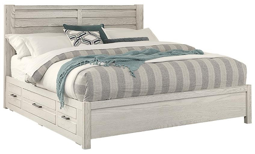 King Horizontal Plank Bed Drawers 2 SIDES