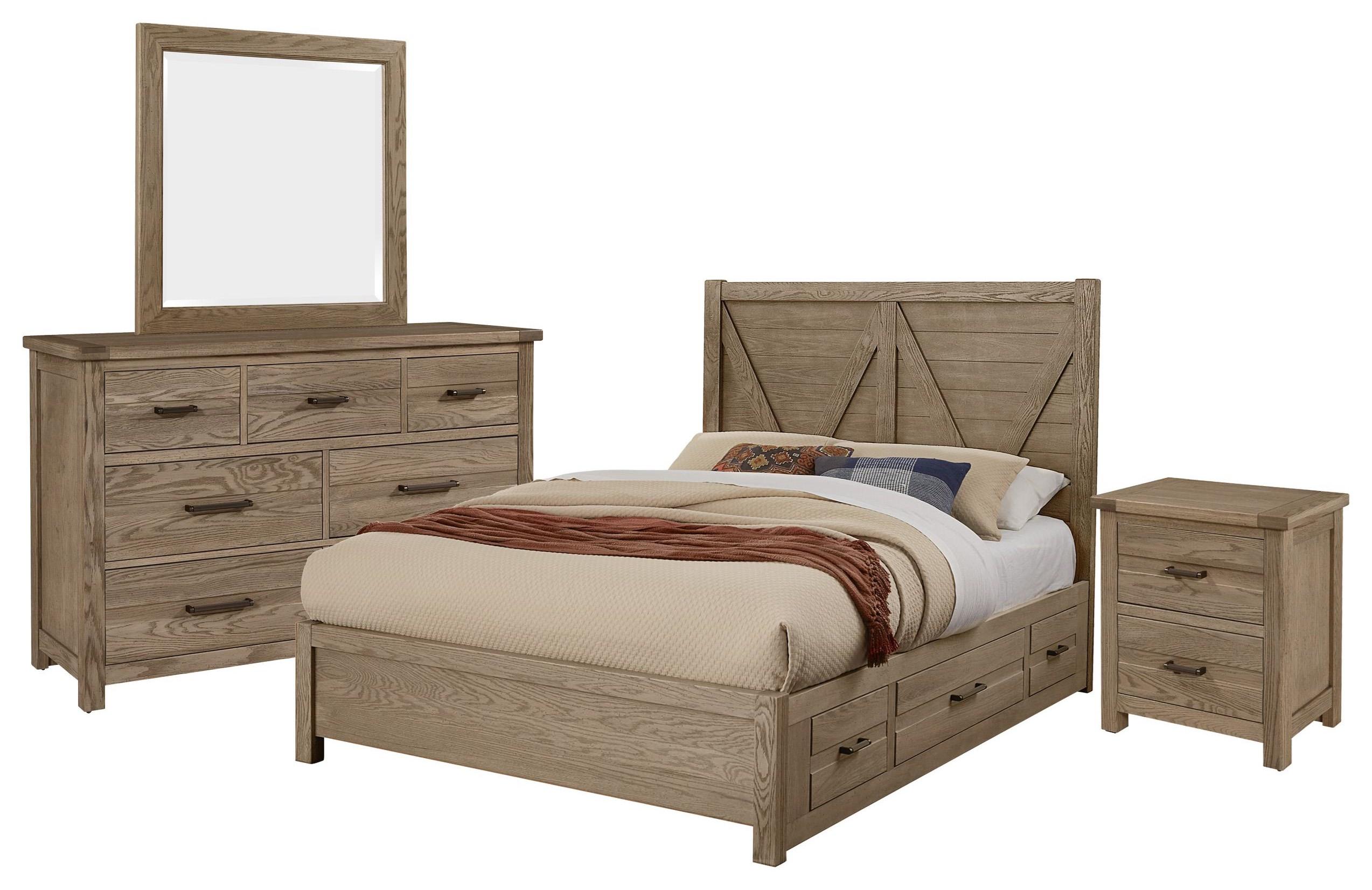 Queen V BED 2 SIDE, Dresser, Mirror, Nightst