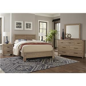 QUEEN PLANK BED, Dresser Mirror, Nightstand
