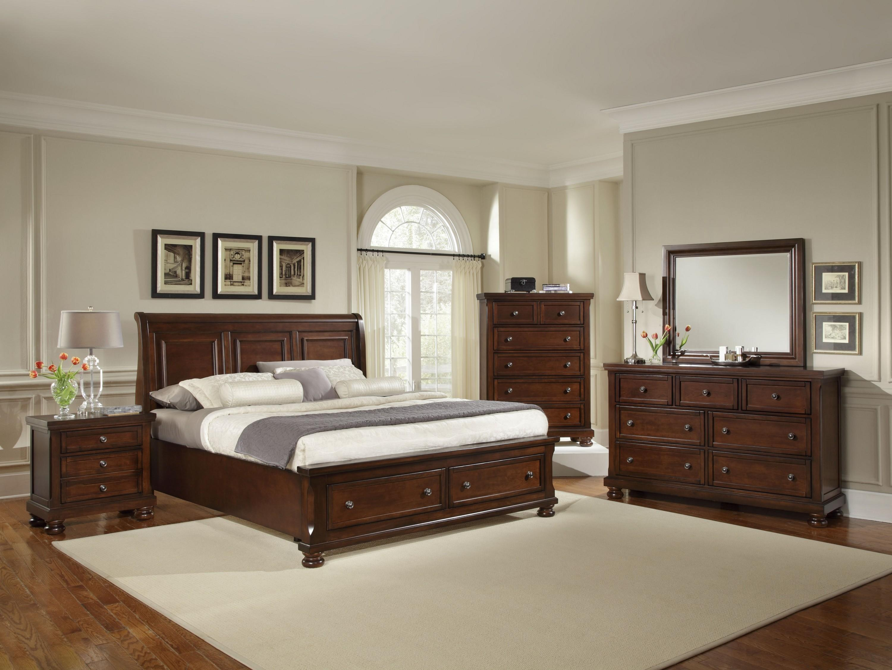 Vaughan bassett reflections king storage bed with sleigh for Chambre adulte complete