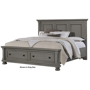 Queen Storage Bed with Mansion Headboard