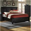 Vaughan Bassett Reflections Queen Storage Bed with Mansion Headboard - King Size Bed Shown. Queen Size will have Two Panels instead of Three.