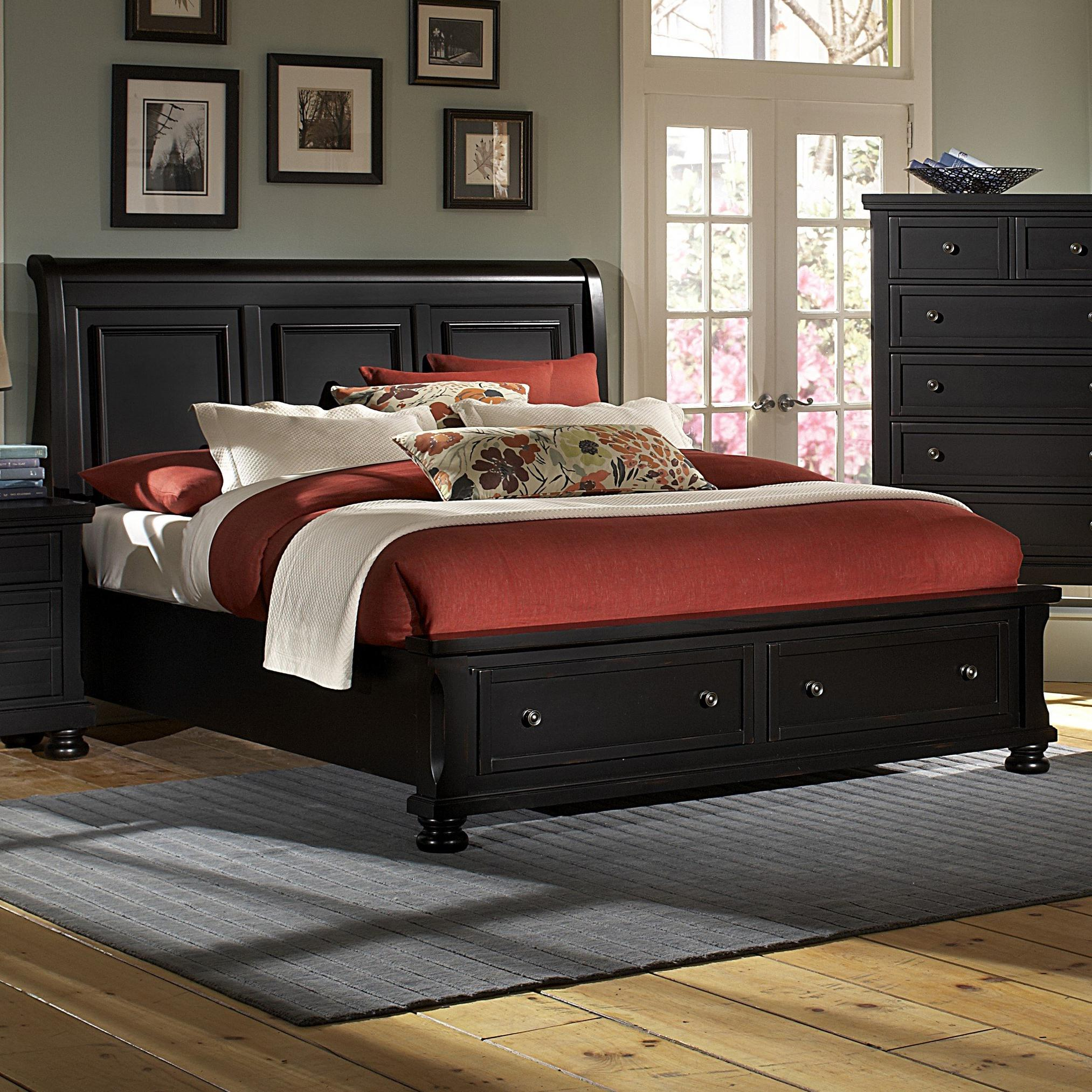 Vaughan Bassett Reflections King Storage Bed with Sleigh Headboard - Item Number: 534-663+066B+502+666T