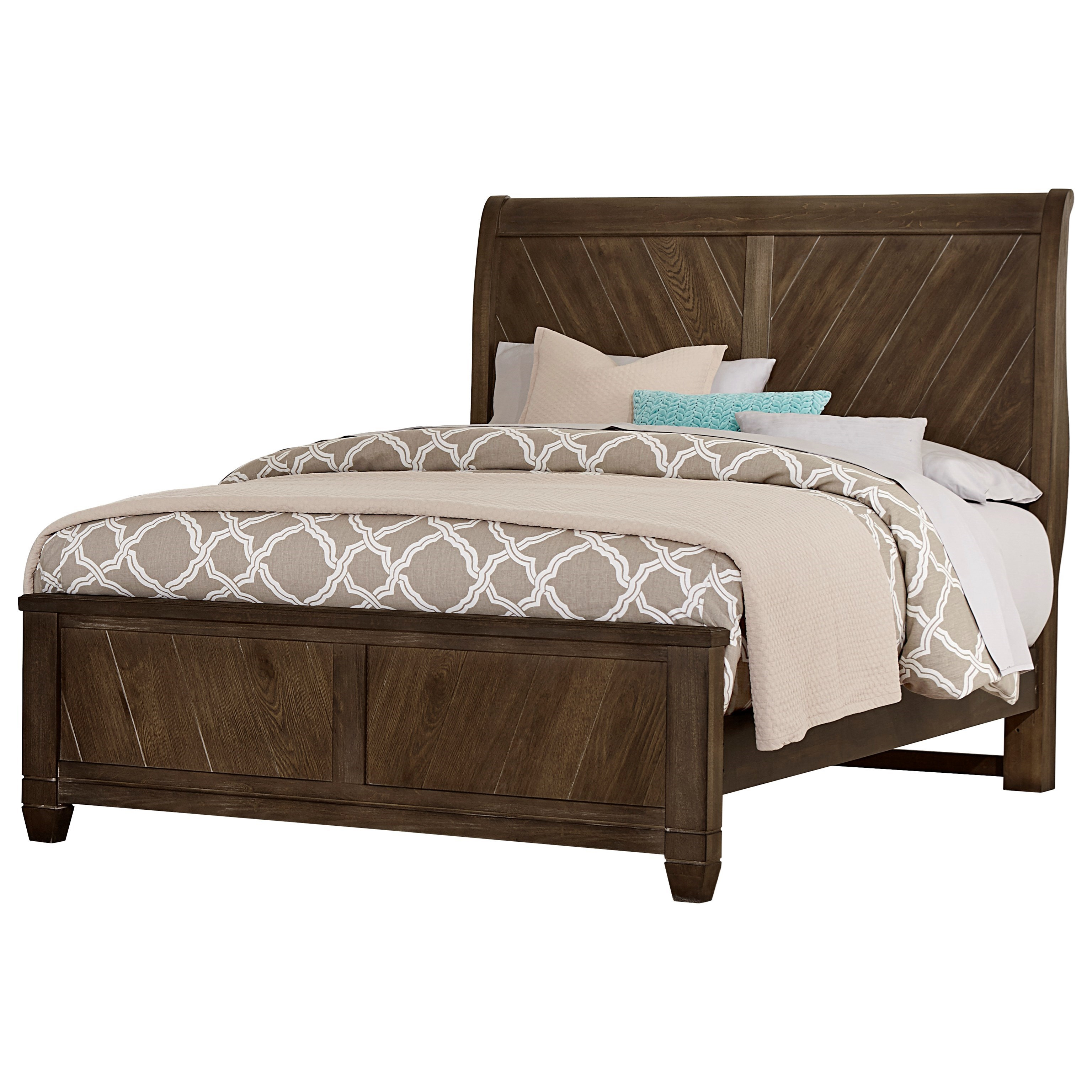 Vaughan Bassett Rustic Cottage King Sleigh Bed - Item Number: 640-663+866+922+MS2