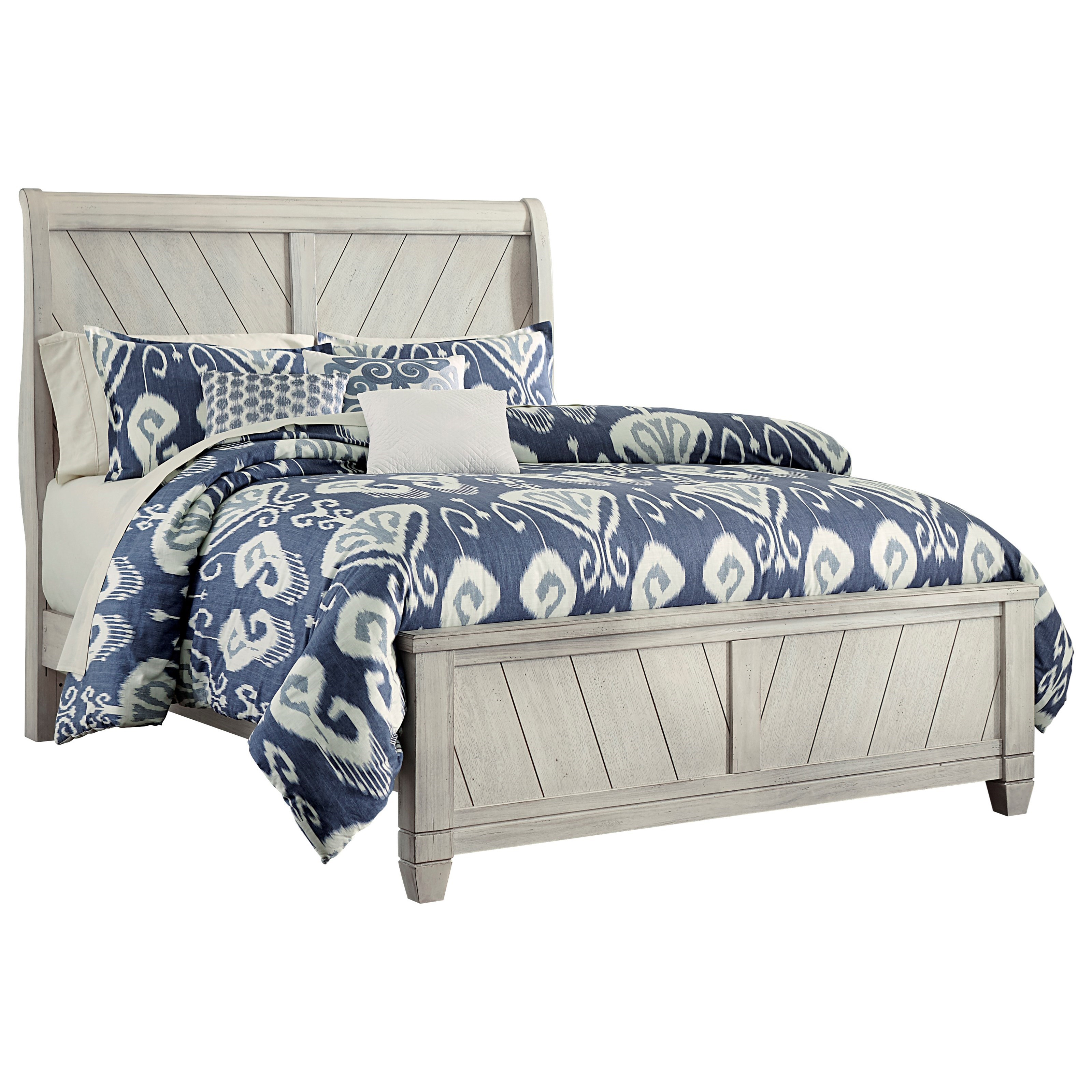 Vaughan Bassett Rustic Cottage King Sleigh Bed - Item Number: 644-663+866+922+MS2