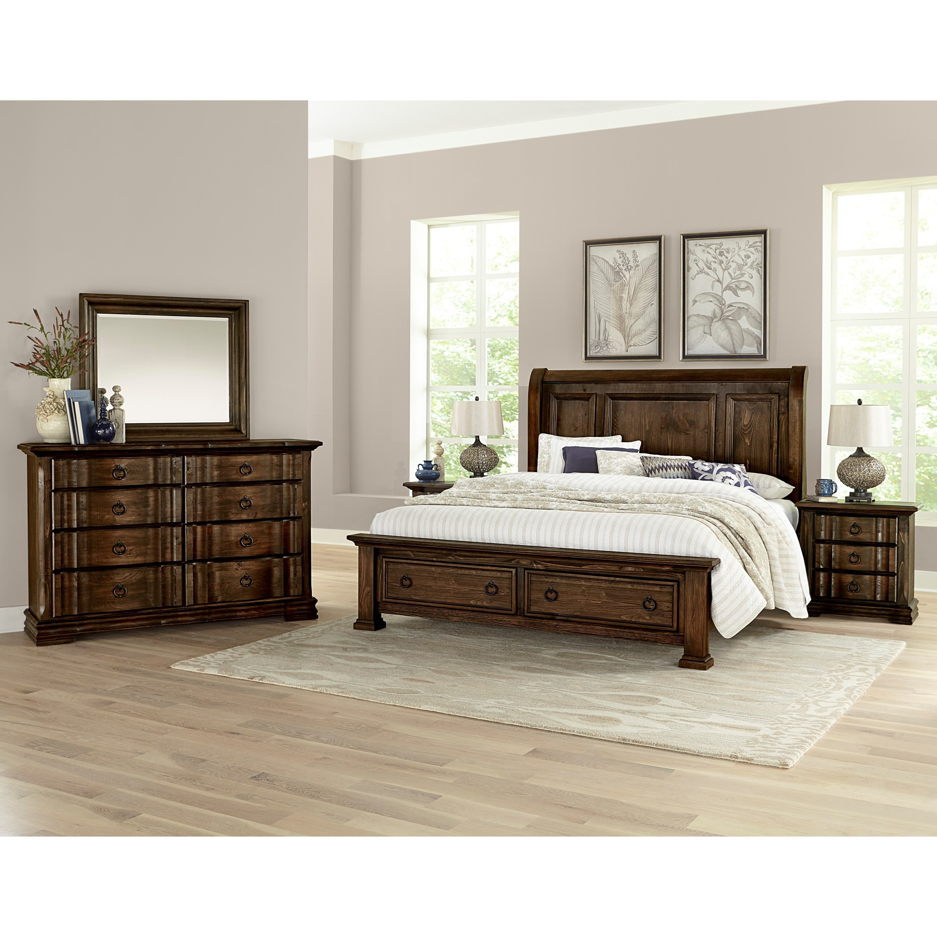 Vaughan Bassett Rustic Hills King Sleigh Bed With Storage