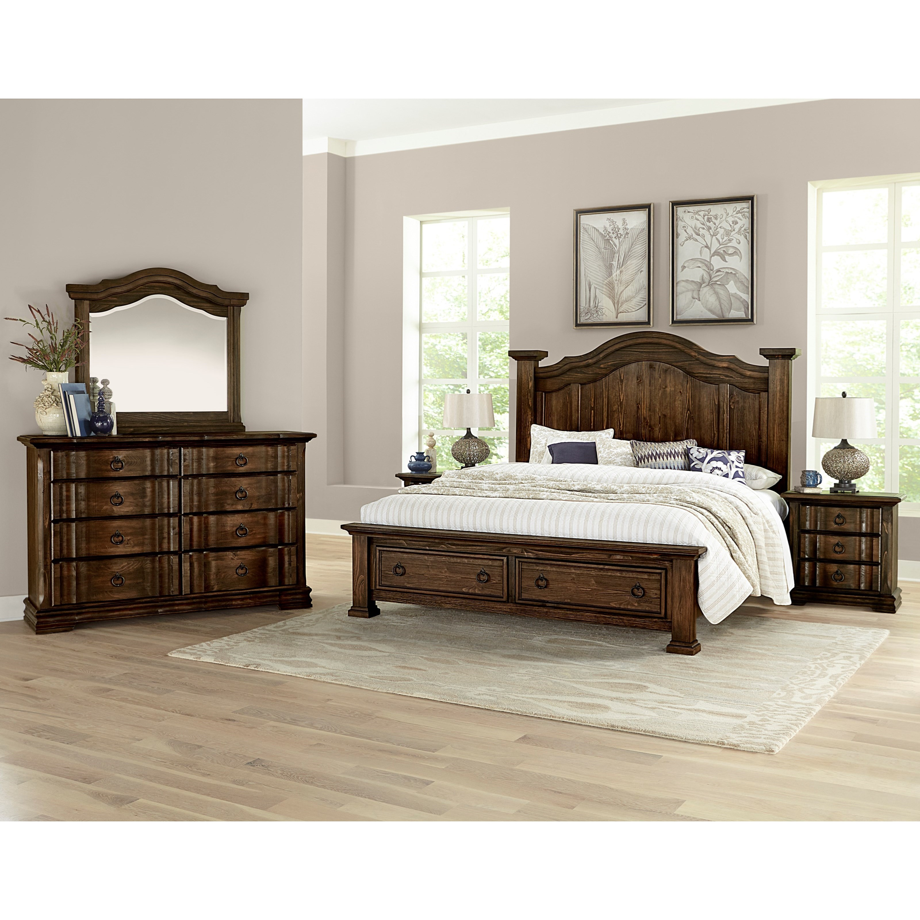 Vaughan bassett rustic hills queen poster bed with storage - Bedroom furniture made in north carolina ...