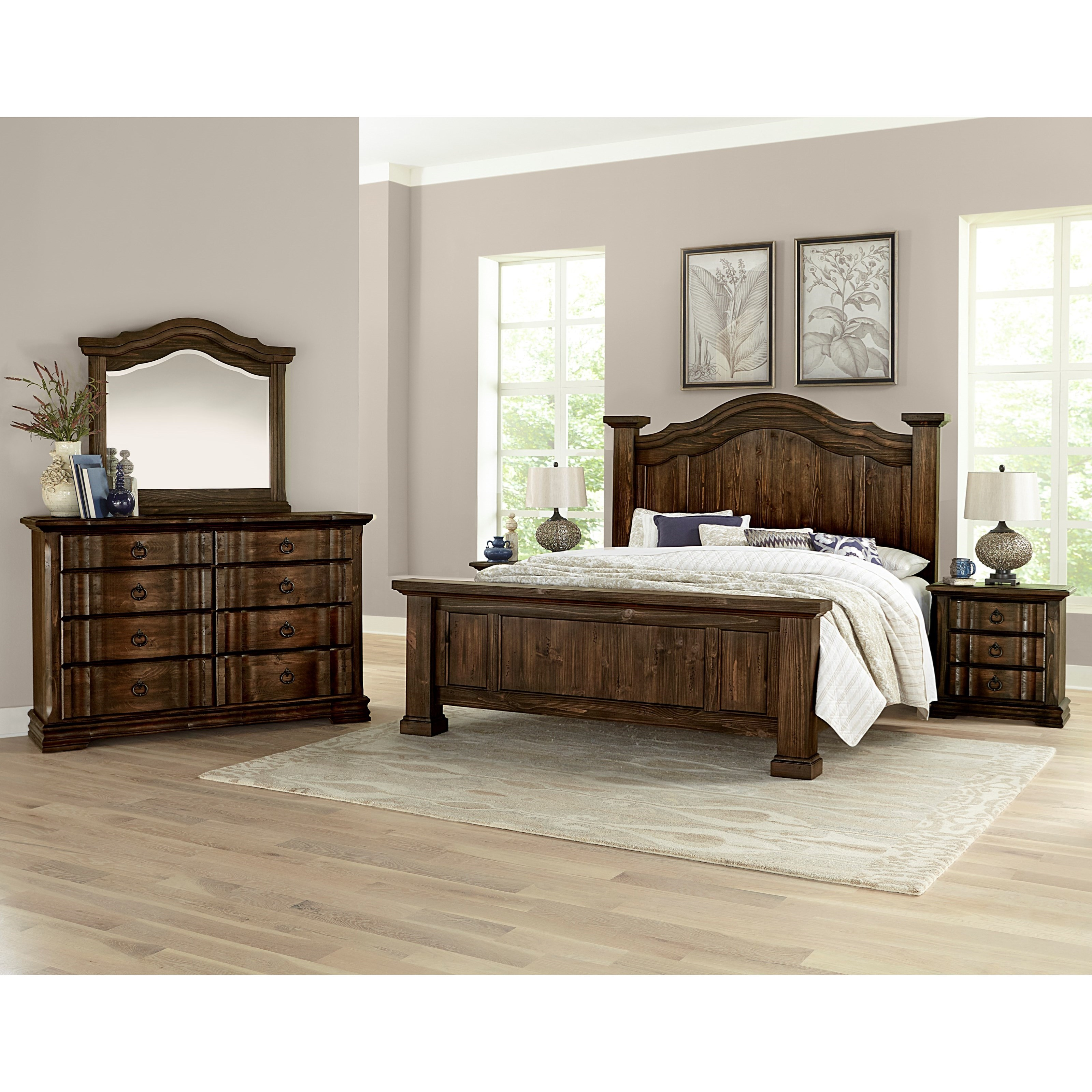 vaughan bassett rustic hills king poster bed with arched 17708 | products 2fvaughan bassett 2fcolor 2frustic 20hills 680 559 2b955 2b922 b7