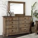 Vaughan Bassett Rustic Hills Dresser & Shadowbox Mirror - Item Number: 682-004+445