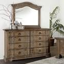 Vaughan Bassett Rustic Hills Dresser & Arched Landscape Mirror - Item Number: 682-004+446