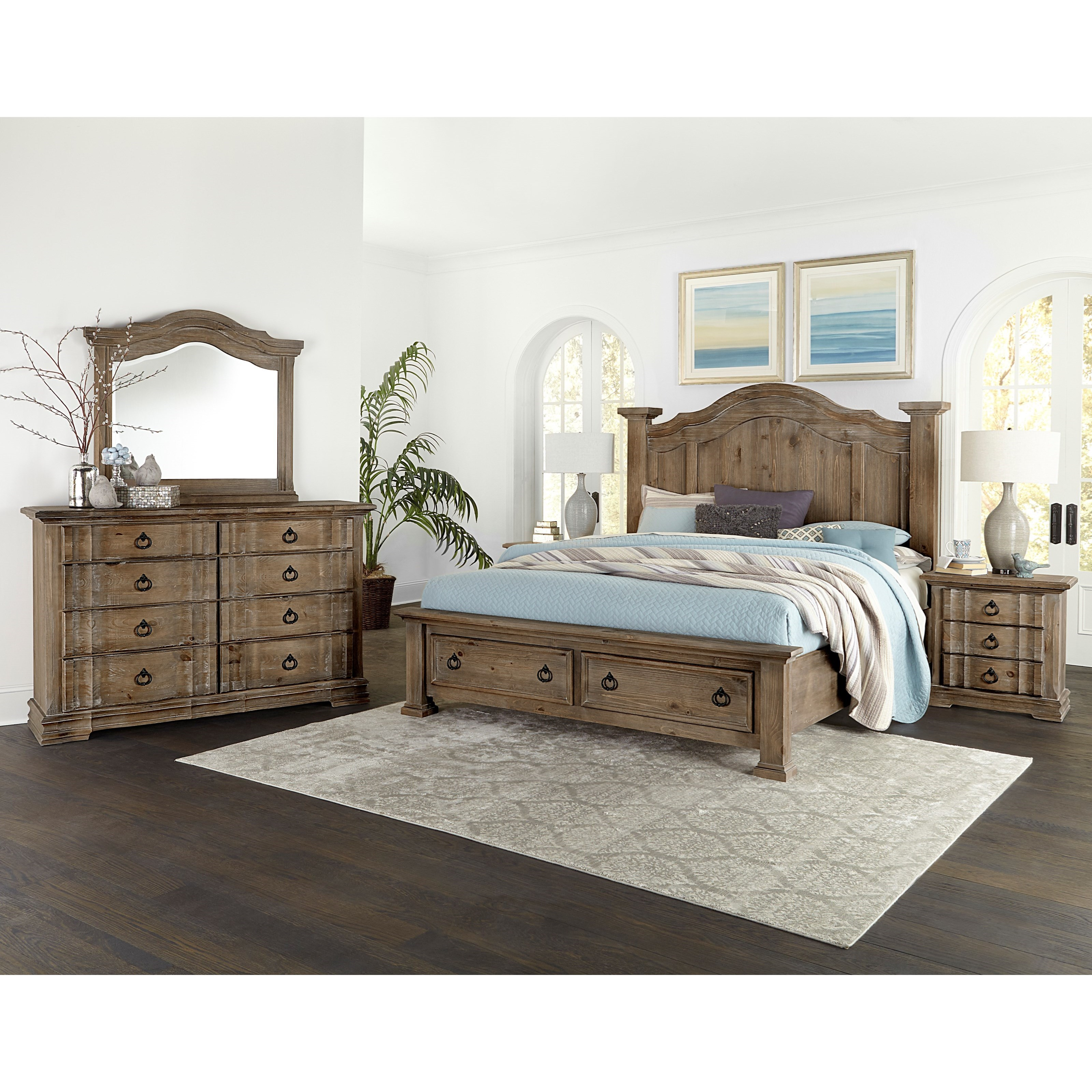 Vaughan bassett rustic hills king poster bed with storage - Bedroom furniture made in north carolina ...