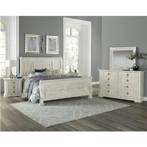Vaughan Bassett Rustic Hills King Sleigh Bed, Dresser, Mirror & Nightstan