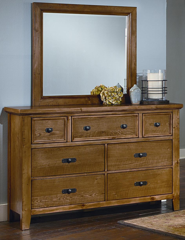 Vaughan Bassett Timber Mill Dresser And Landscape Mirror - Item Number: BB54-002+445