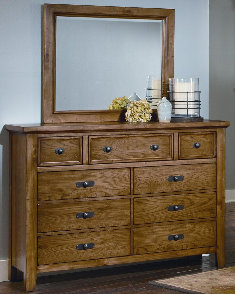 Vaughan Bassett Timber Mill Chesser With 9 Drawers and Mirror - Item Number: BB54-004+446