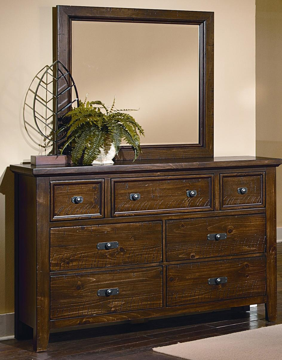 Vaughan Bassett Timber Mill Dresser And Landscape Mirror - Item Number: BB58-002+445