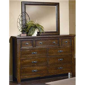 Vaughan Bassett Timber Mill Chesser With 9 Drawers and Mirror