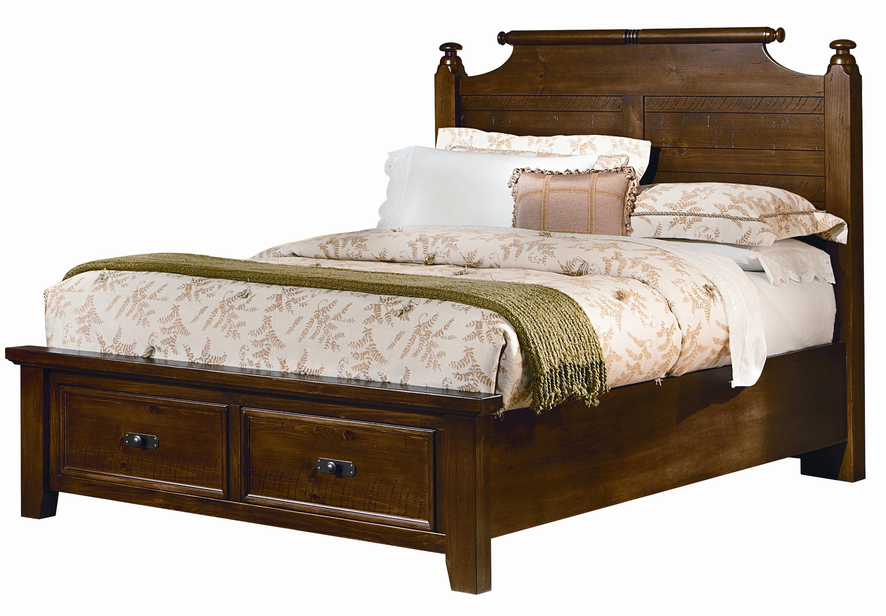 Vaughan Bassett Timber Mill Queen Poster Bed With Storage Drawers - Item Number: BB58-557+050B+502+555T