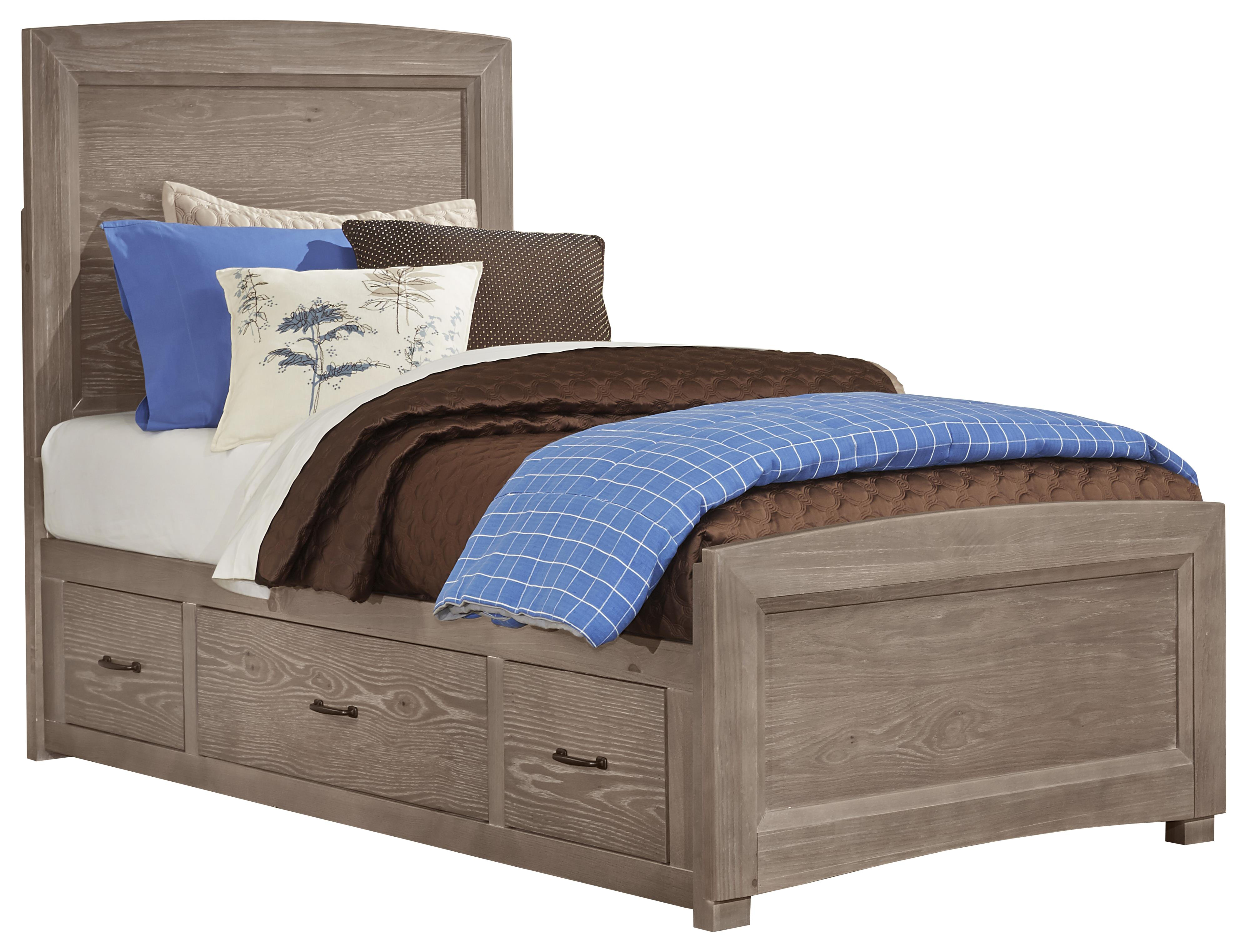 Vaughan Bassett Transitions Twin Panel Bed with Underbed Storage - Item Number: BB61-338+833+076B+076C+333T