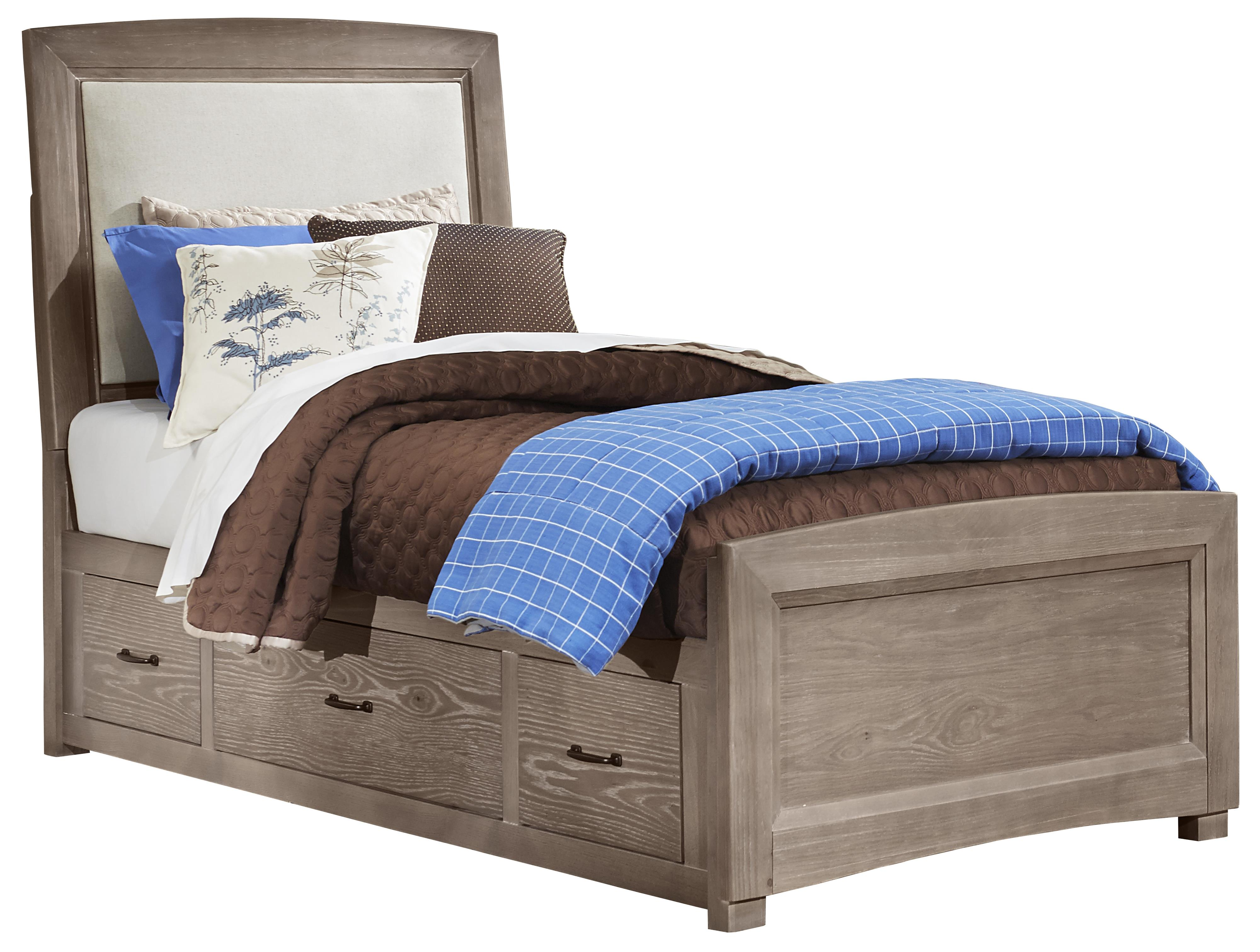 Vaughan Bassett Transitions Twin Uph. Bed, Base Cloth Linen with Storage - Item Number: BB61-339+833+076B+076C+333T