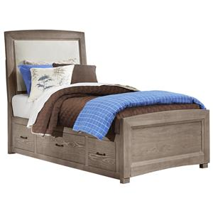 Vaughan Bassett Transitions Twin Uph. Bed, Base Cloth Linen with Storage