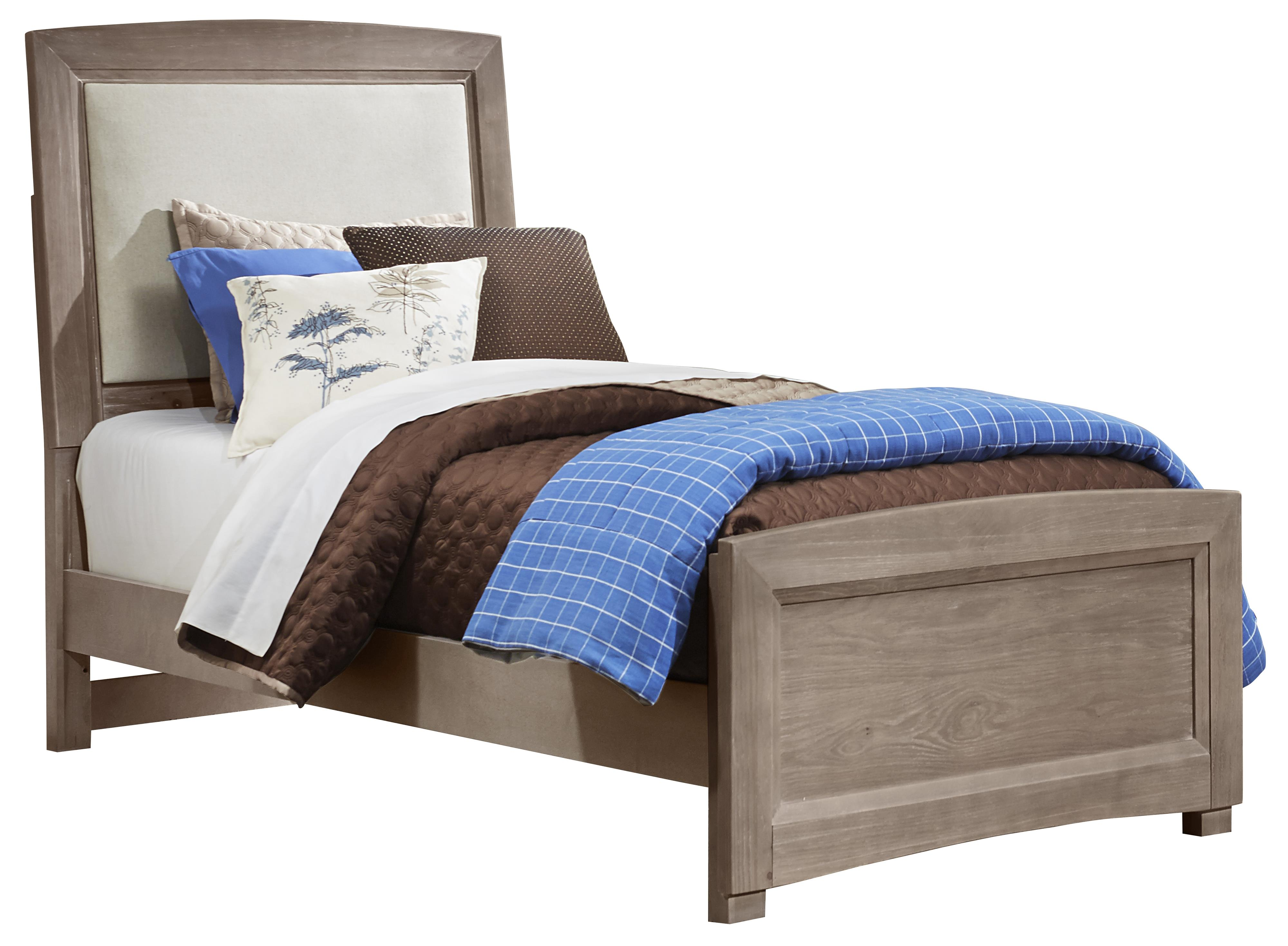 Twin Upholstered Bed, Base Cloth Linen