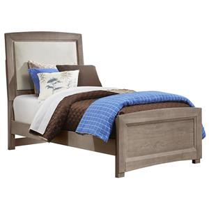 Vaughan Bassett Transitions Twin Upholstered Bed, Base Cloth Linen
